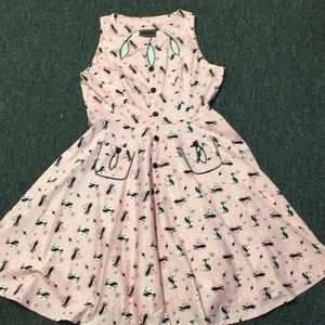 Pin up Swing voodoo vixen pink cat dress sz 16